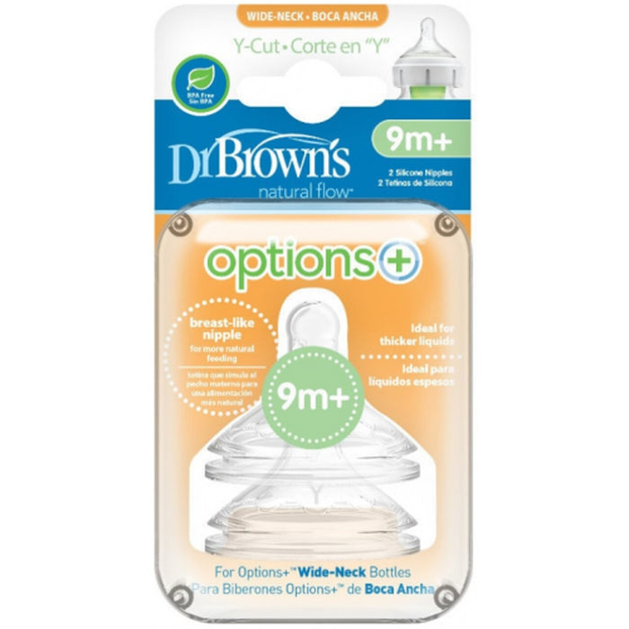 Dr Browns Options+ Wide Neck Y-Cut 9 Months+ Teat 2 Pack