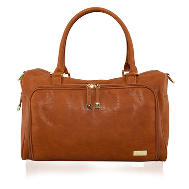 ISOKI Double Zip Satchel Nappy Bag Amber Tan