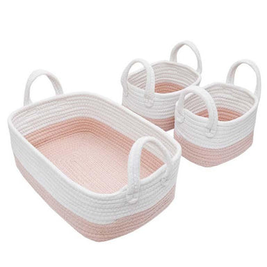 Living Textiles 3 Piece Nursery Storage Set White/Pink