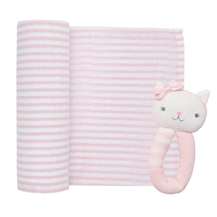 Living Textiles Muslin Swaddle & Rattle Daisey the Cat
