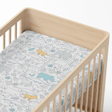 Living Textiles Cot Fitted Sheet Urban Safari