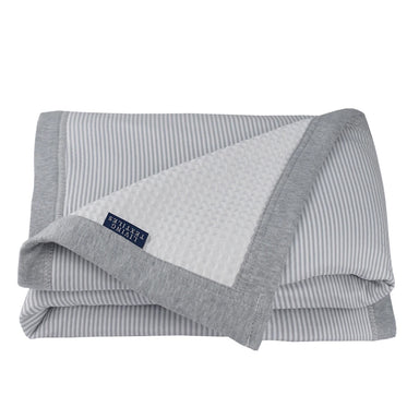 Living Textiles Cot Waffle Blanket Grey Stripe