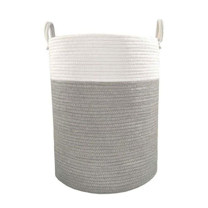 Living Textiles Cotton Rope Hamper White/Grey