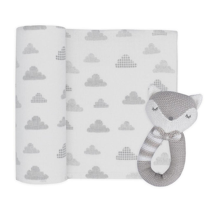 Living Textiles Muslin Swaddle & Rattle Charlie the Fox