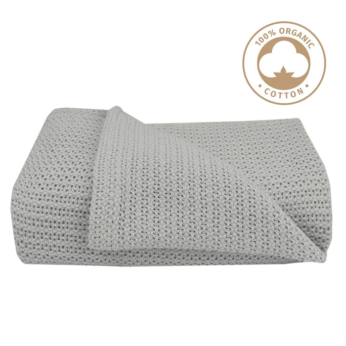 Living Textiles Organic Cellular Cot Blanket Grey