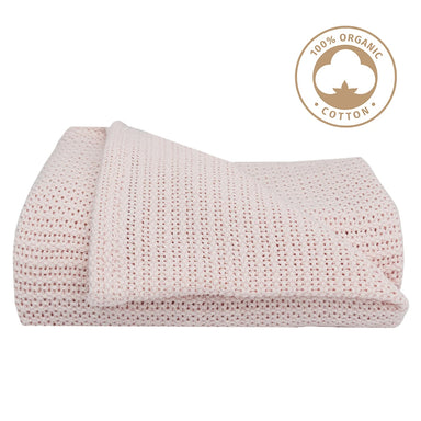 Living Textiles Organic Cellular Cot Blanket Pink
