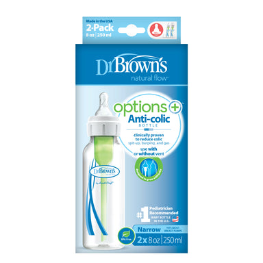 Dr Browns Options+ Narrow Neck 250ml Feeding Bottle 2 Pack