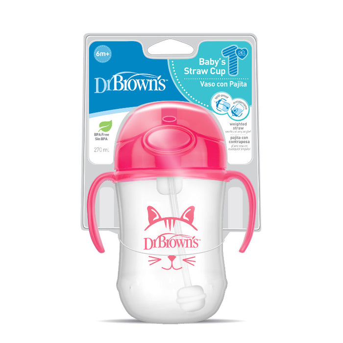 Dr Browns 270ml Babys First Straw Cup Pink