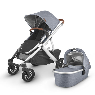 UPPAbaby VISTA V2 Pram TWIN Package + Upper & Lower Adapter Blue Melange (Gregory) + 200 VOUCHER