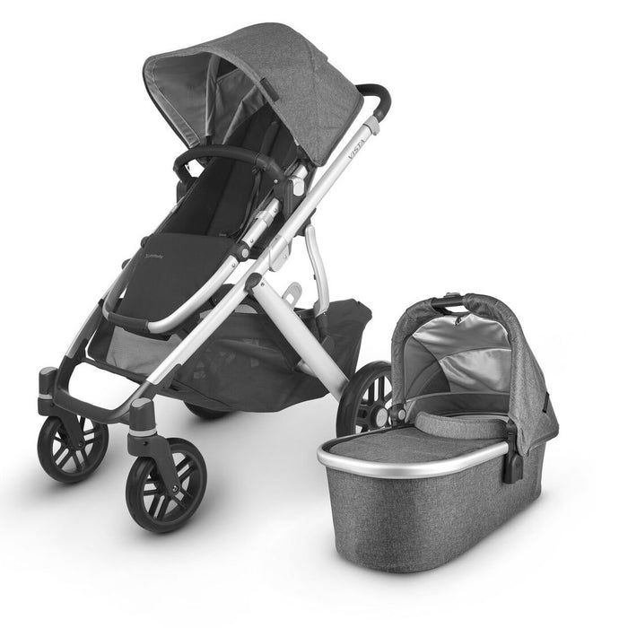 UPPAbaby VISTA V2 With Bassinet & Rumble Seat Charcoal Melange (Jordan) + FREE Ganoosh (Black) & Upper Adapter