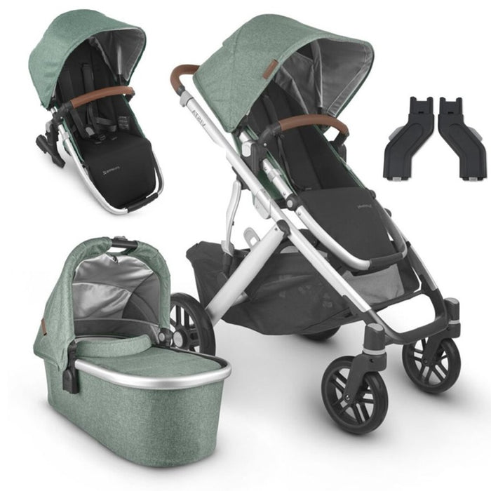 UPPAbaby VISTA V2 With Bassinet & Rumble Seat Green Melange (Emmett) + FREE Ganoosh (Gregory) & Upper Adapter
