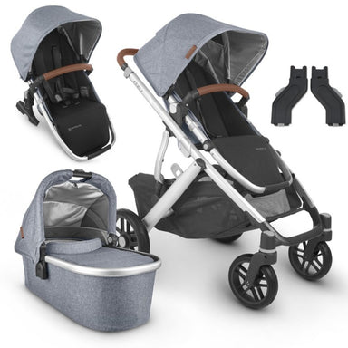 UPPAbaby VISTA V2 With Bassinet & Rumble Seat Blue Melange (Gregory)+ FREE Ganoosh (Gregory) & Upper Adapter