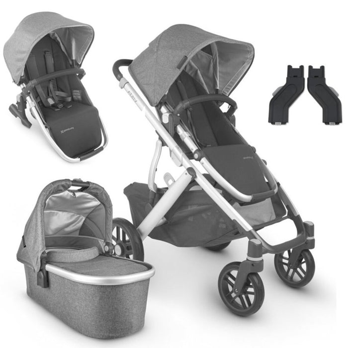 UPPAbaby VISTA V2 With Bassinet & Rumble Seat + FREE Ganoosh & Upper Adapter Charcoal Melange (Jordan)