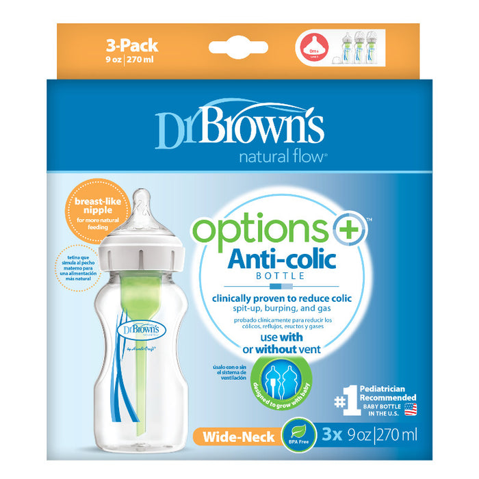 Dr Browns Options+ Wide Neck 270ml Feeding Bottle 3 Pack