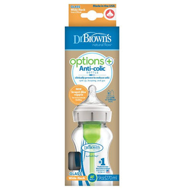 Dr Browns Options+ Wide Neck 270ml Glass Feeding Bottle