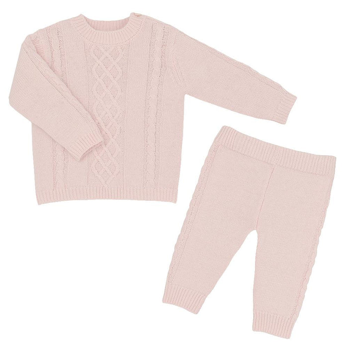 Living Textiles Cable Knit Sweater & Pants Set 6-9 Months Blush