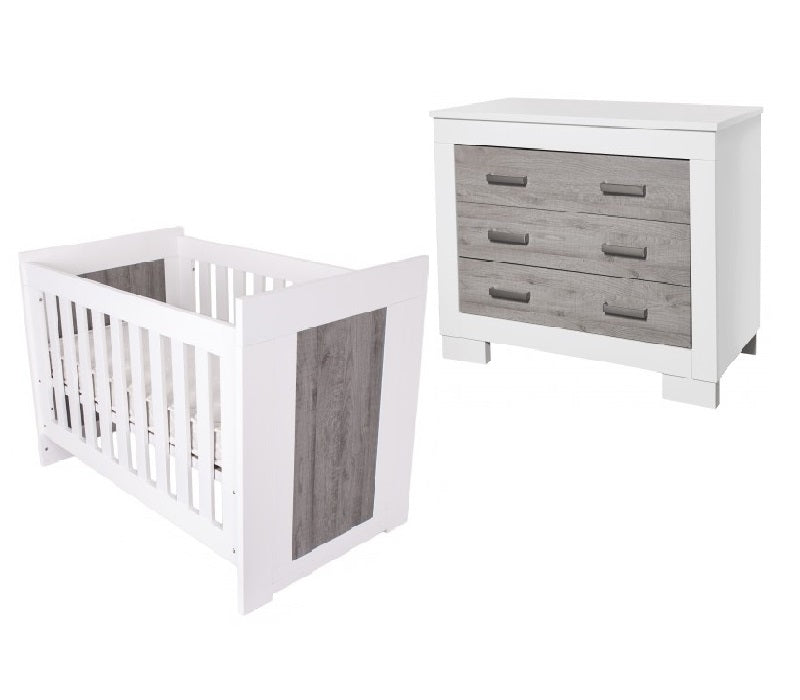 Love N Care Lucca Cot & Chest Package White Ash