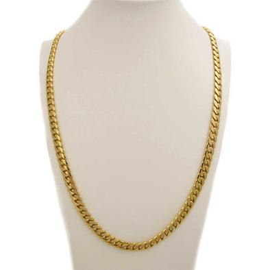 10 MM CUBAN LINK CHAIN (14 k guld över 999 silver) MEDIUM