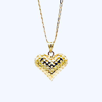 10 k Gold Heart Shape Pendant/Box Chain Set