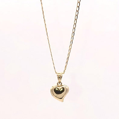 10 k Gold Tear Heart Charm and Box Chain