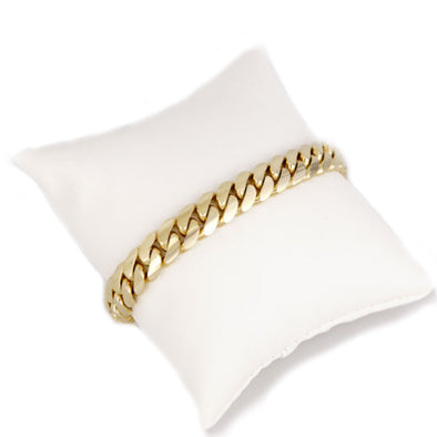 10 MM CUBAN LINK BRACELET  (14k Gold Over Pure 999 Silver ) MEDIUM