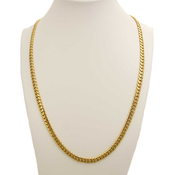 8 MM CUBAN LINK CHAIN  (14k Gold over  999 Pure Silver) THIN