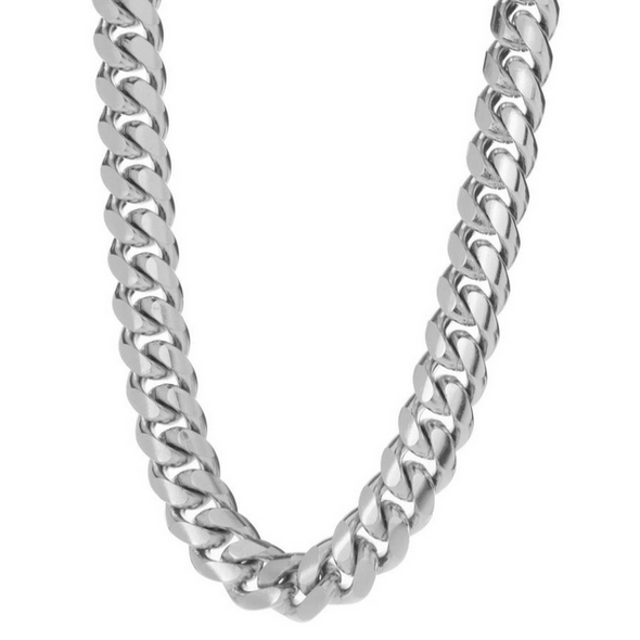 8 MM WHITE GOLD CUBAN LINK CHAIN (10k Gold)