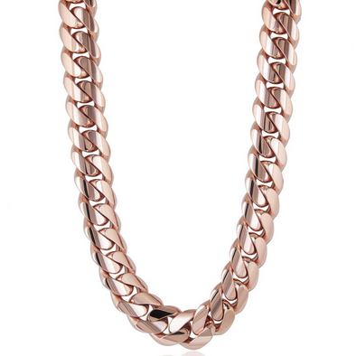 14 MM ROSE GOLD CUBAN LINK CHAIN (10k Gold)