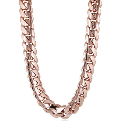 16 MM ROSE GOLD CUBAN LINK CHAIN (10k Gold)