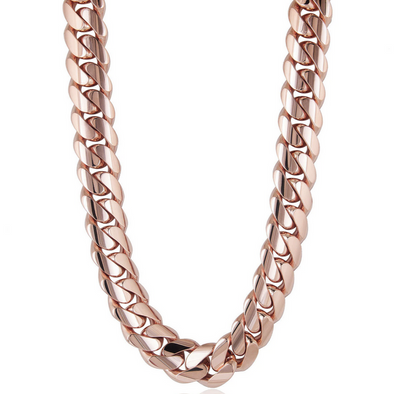 12 MM ROSE GOLD CUBAN LINK CHAIN (10k Gold)