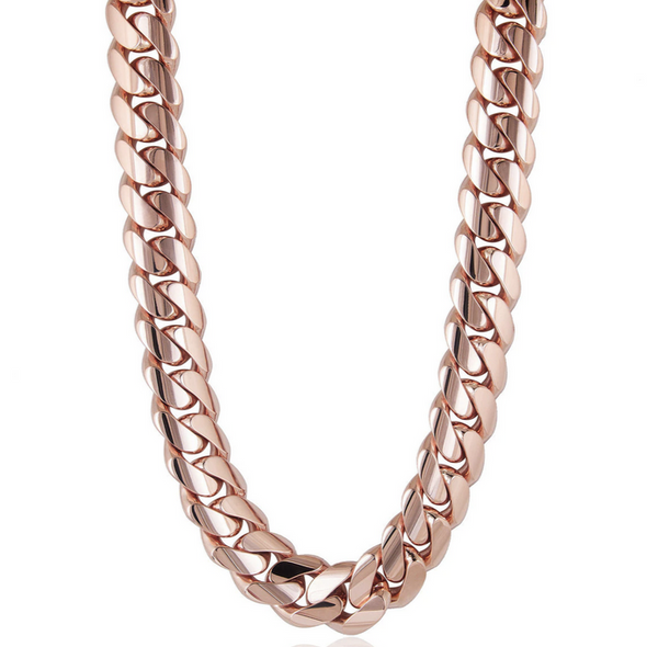 8 MM ROSE  GOLD CUBAN LINK CHAIN (10k Gold)