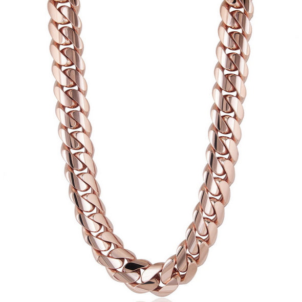 18 MM ROSE GOLD CUBAN LINK CHAIN (10k Gold)
