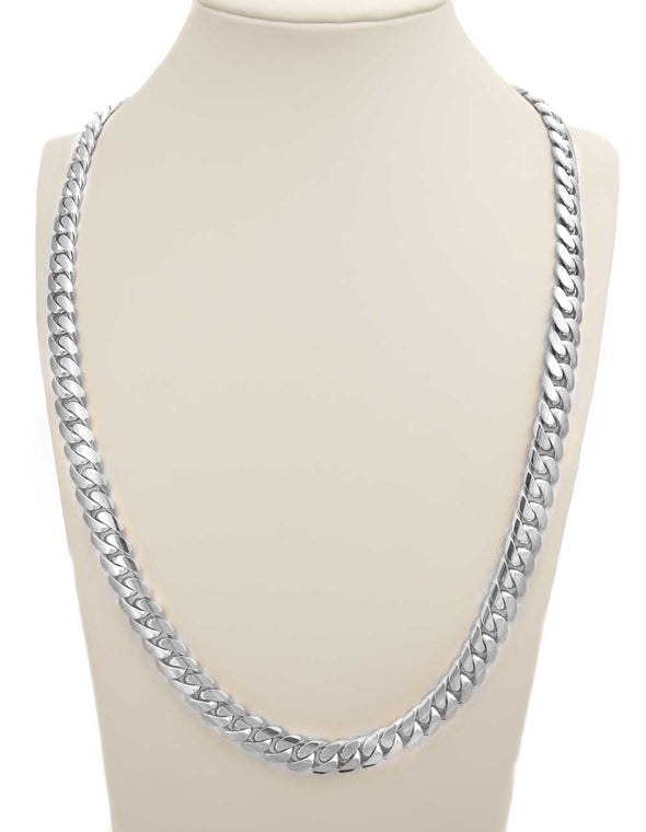 20 MM WHITE GOLD CUBAN LINK CHAIN (10k Gold)