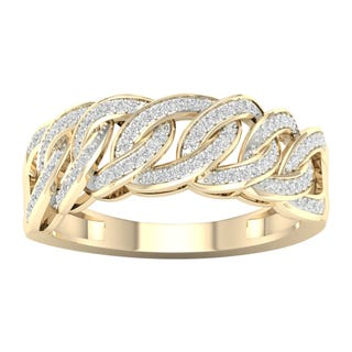 1/4 ct  diamond 14k Gold Cuban Link  Mens Ring