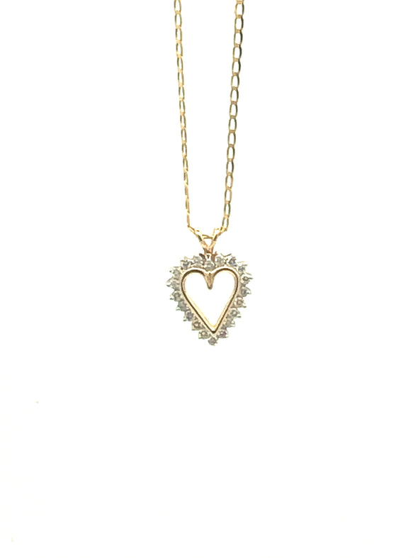 14 k Diamond Heart Charm with Box Chain