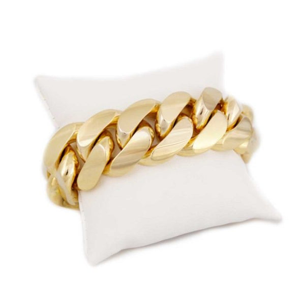 18  MM CUBAN LINK BRACELET  (14k Gold over 999 Silver) REALLY BIG