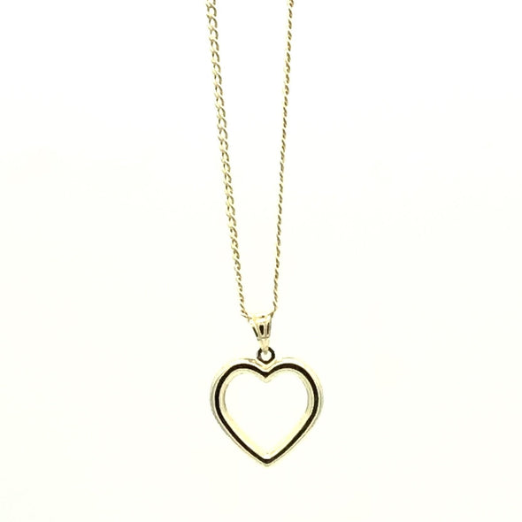 10 k Gold Heart shaped Charm and Chain