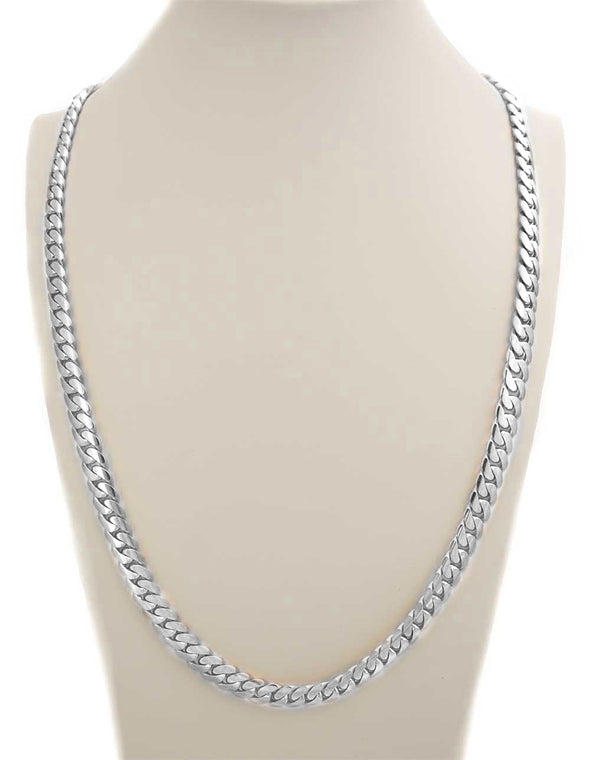 14 MM WHITE GOLD CUBAN LINK CHAIN (10k Gold)