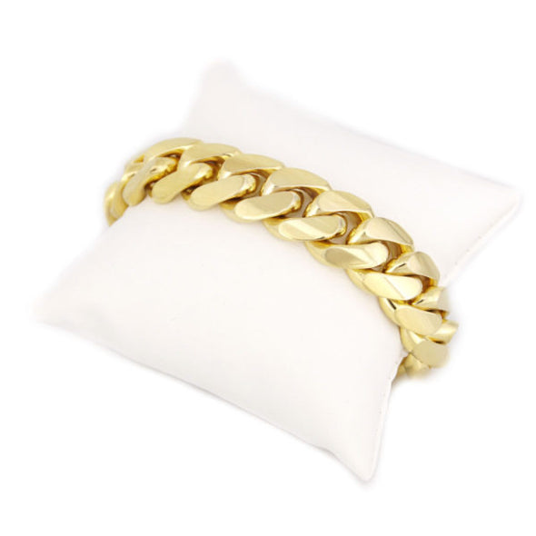 14  MM CUBAN LINK BRACELET  (14k Gold over 999 Silver) BIG