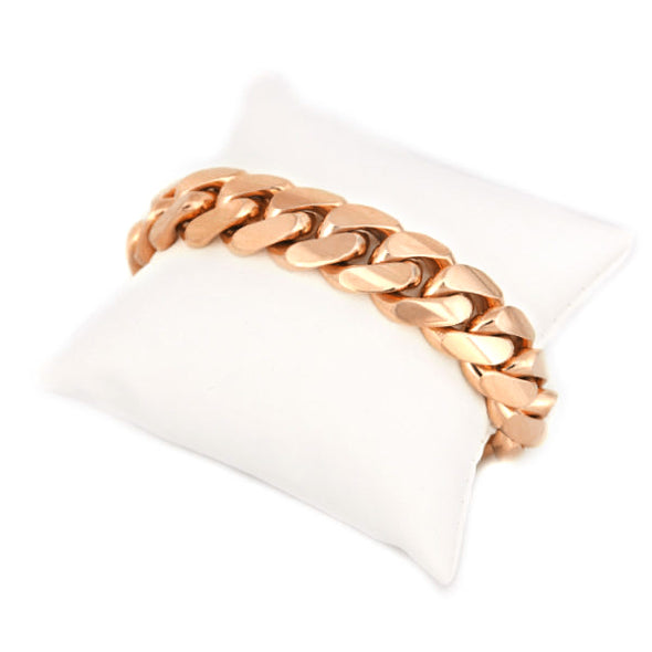 12 MM Rose Cuban Link Bracelet (10k gold) BIG