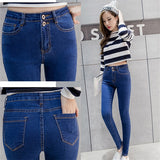2019 New Jeans For Women Skinny High Waist Elasticity Blue Black Denim Pencil Pants Stretch Women Jeans Pants Plus Size
