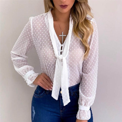 Chiffon Sexy Transparent Shirts Womens Tops And Blouses Female 2019 Autumn Shirt White Office Chemise Lady Dot Mesh Top Femme