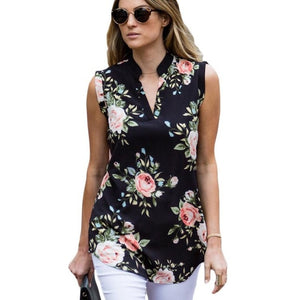 2019 Summer Sleeveless Chiffon Blouse Sexy V Neck Women Shirts Casual Loose Chemise Fashion Vintage Floral Print Blouse Shirt