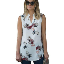 Charger l'image dans la galerie, 2019 Summer Sleeveless Chiffon Blouse Sexy V Neck Women Shirts Casual Loose Chemise Fashion Vintage Floral Print Blouse Shirt