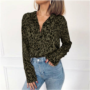 Hot Sale Fashion V Neck Elegant Chemise Sexy Animal Leopard Printed Women Blouse Long Sleeve Loose Shirt Top Femme 3xl Plus Size