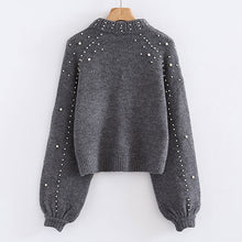 Charger l'image dans la galerie, Bigsweety Women Turtleneck Sweaters Pearl Beading Sweater Autumn Winter Warm Lantern Sleeve Women Jumper Pull Knitted Pullovers