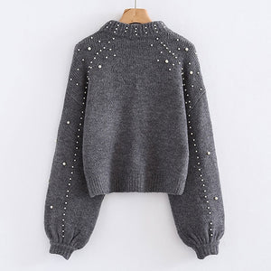 Bigsweety Women Turtleneck Sweaters Pearl Beading Sweater Autumn Winter Warm Lantern Sleeve Women Jumper Pull Knitted Pullovers