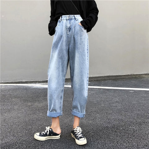 Women high waist boyfriend jeans for women mom jeans dropshipping  new spring Cotton blue denim harem pants