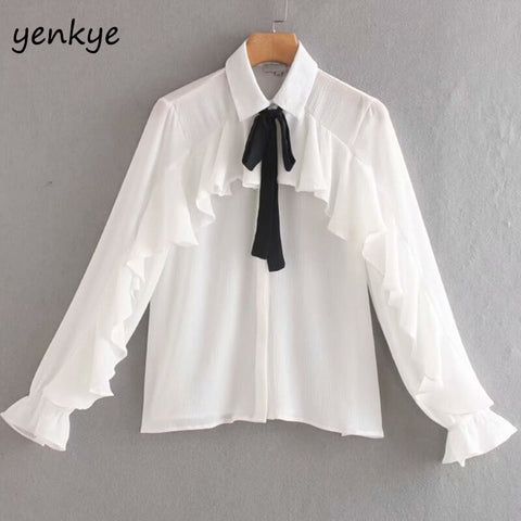 Elegant Bow Tie Lapel Collar Ruffle Blouse Shirt Women Long Sleeve Summer Chiffon White Office Shirts Plus Size Chemise Femme