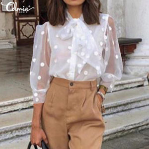2019 Celmia S-5XL Women Fashion Polka Dot Blouses Buttons Sexy Mesh Sheer See-through Shirts Gauze Tull Tops Blusas Femininas 7